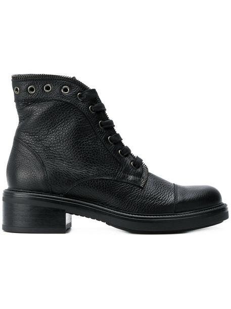 zip women lace leather black shoes