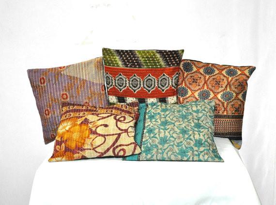 24X24 XL Set Of 5 Pillow Cover, Vintage Kantha Decorative throw Pillow,  Kantha Pillow, Kantha Cushion, ...