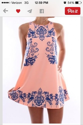 pink dress blue dress loose dress short dress dress sleeveless