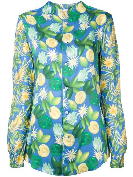JULIEN DAVID shirt printed shirt women cotton green top