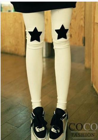 leggings white stars