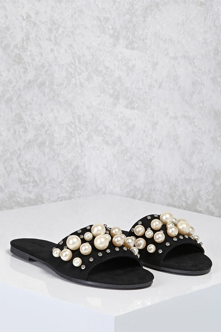 5a995b5a9b93 Faux Pearl Slide Sandals