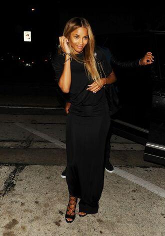 shoes sandals ciara skirt maxi skirt top all black everything high heel sandals