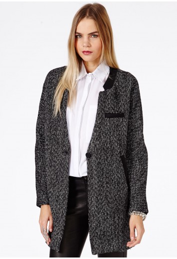 Tweed Boyfriend Coat With Faux Leather Trim - Coats & Jackets ...