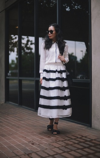 hallie daily blogger midi skirt striped skirt white shirt