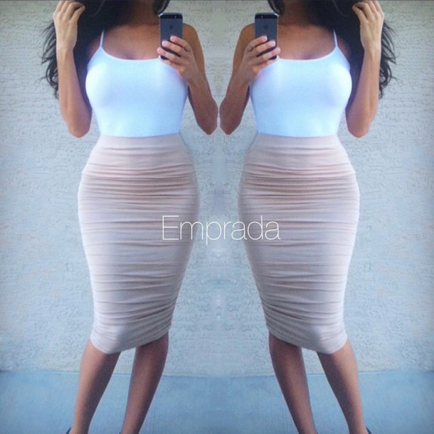 Skirt: ruched, ruched skirt, ruched skirts, nude, nude ruched ...