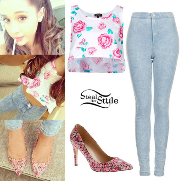 top shop shirt shoes ariana grande floral summer steal her style pointed shoes jeans outfit pants blouse