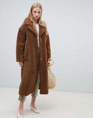 Warehouse longline faux fur coat in tobacco at asos.com