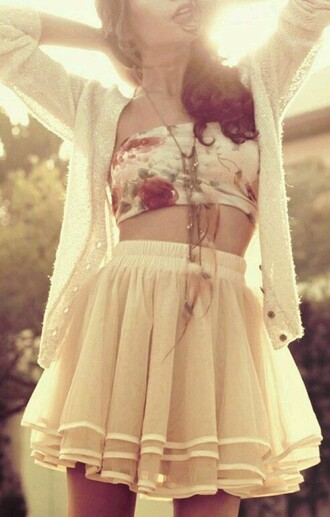 skirt tulle skirt cream top