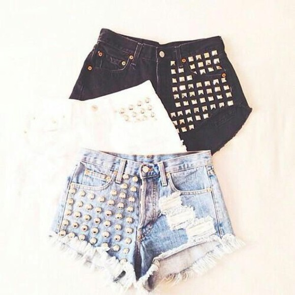 black High waisted shorts denim shorts high waisted bikini white