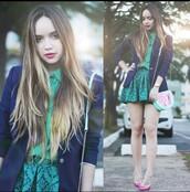 skirt,green,pleated
