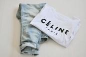 t-shirt,celine,jeans,shirt,paris,white,black writing,pants,celine paris shirt,acid wash,ripped,blouse,indie,dope,instagram,kylie jenner,floral t shirt