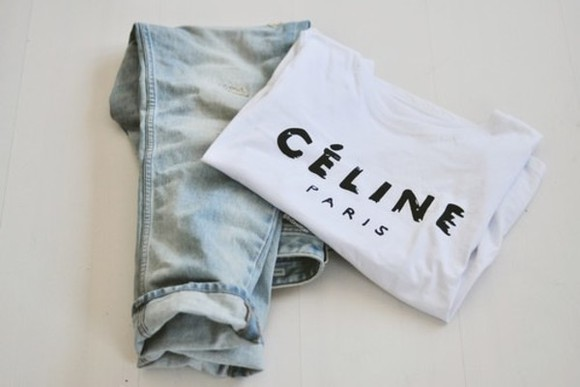celine shirt pants t-shirt jeans céline, shirt, white celine paris shirt