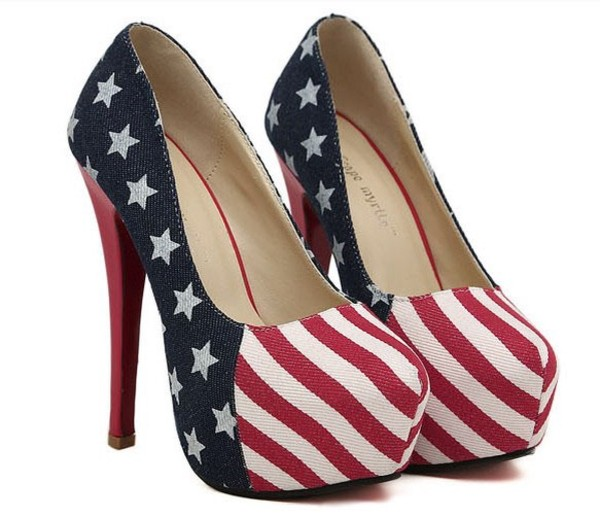 shoes american flag high heels