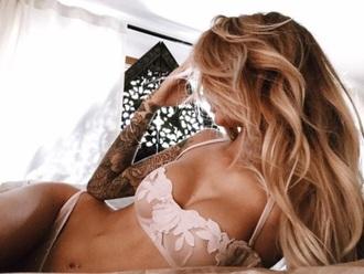 blouse rose pink floral bra bralette lingerie underwear