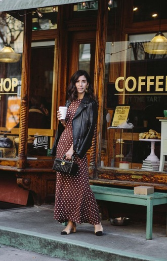 dress brown dress maxi dress long dress jacket black jacket leather jacket shoes bag polka dots handbag