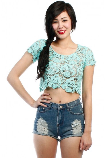 LoveMelrose.com From Harry & Molly | LACE CROCHET CROP TOP - MINT