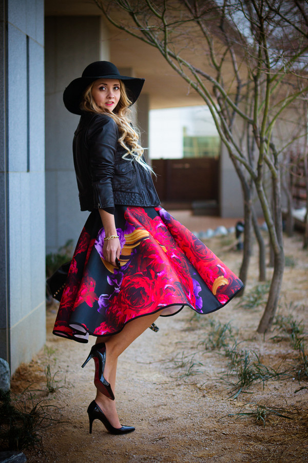 my blonde gal skirt bag blouse shoes jacket jewels hat