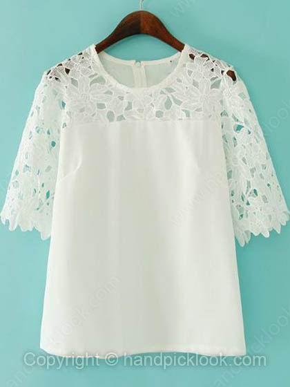 White Round Neck Half Sleeve Hollow Lace Chiffon Blouse - HandpickLook.com