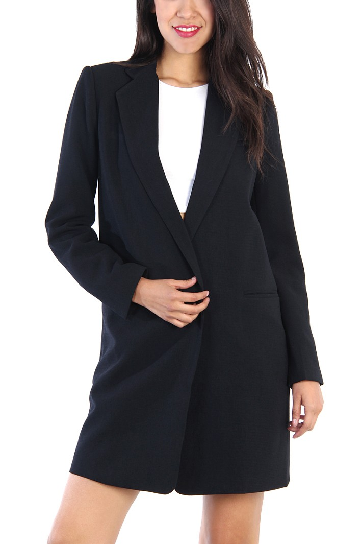 Semi Long Blazer - Black