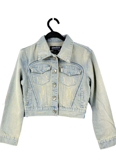 Women blushing vintage frayed jeans tops denim light blue coat outwear jacket online