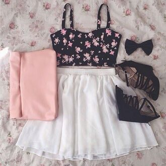 skirt white white skirt floral spring spring outfits pretty girly cute nice blouse shoes