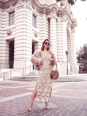 laminlouboutins blogger dress jacket bag shoes sunglasses round bag lace dress pumps faux fur jacket spring outfits