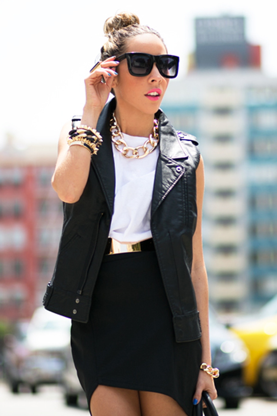 LEATHER BIKER VEST - Black | Haute & Rebellious