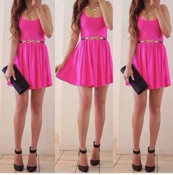dress bag cute dress pink dress collier belt jewels shoes pink prom fave hair girl high heels