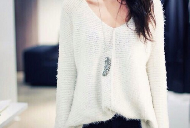 sweater white soft style cozy cozy sweater comfy necklace