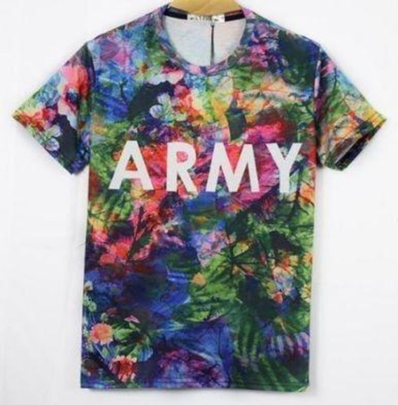 t-shirt military floral havaianas
