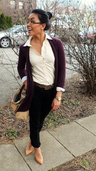 blouse work interview cute purple bag perfect white plum black watch bun button up lepard print