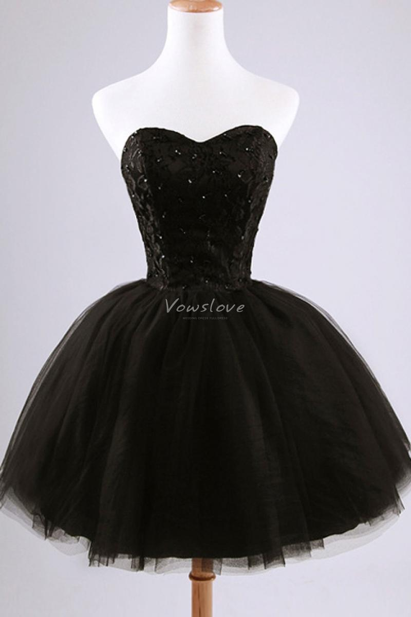 Sweetheart sleeveless sequined bodice ball gown tulle little black dress above knee vowslove.com