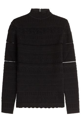 top knit lace black