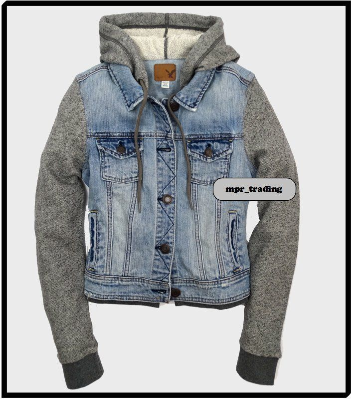 Eagle Women's Denim Vested Hoodie Jacket Blue Gray s M L XL New | eBay