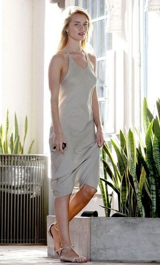 dress midi dress rosie huntington-whiteley model off-duty sandals summer dress