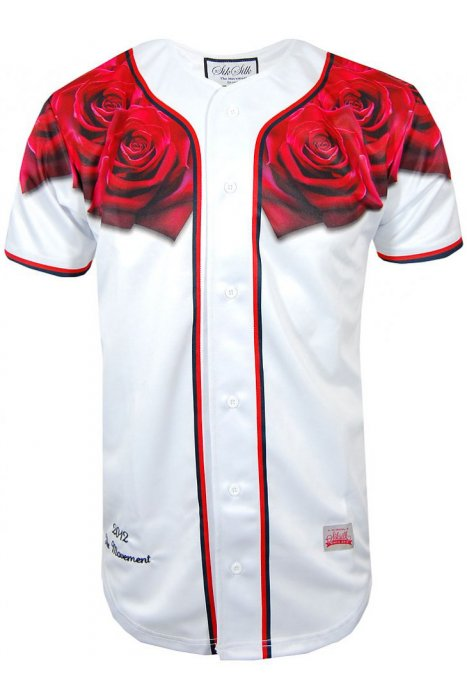 Sik Silk Red Rose Baseball Jersey - Favorite Son