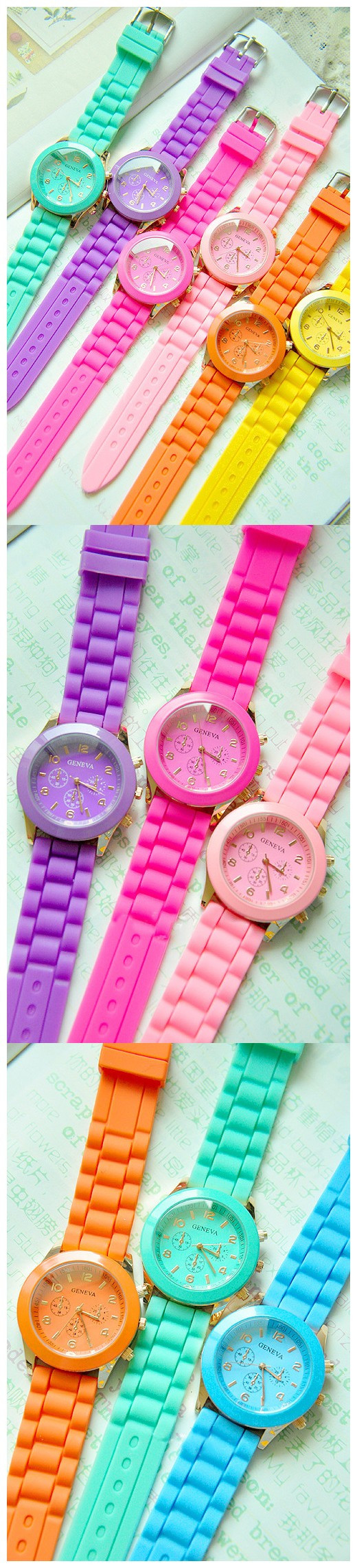 $5.99 Lady Fluorescent Color Jelly Watch Ice Cream Silica Gel 8 Colors Available - BornPrettyStore.com