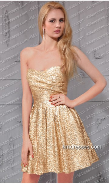 Sparking strapless  sweetheart sequin short prom dress