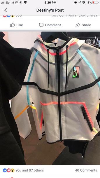 jacket nike windbreaker clear colorful