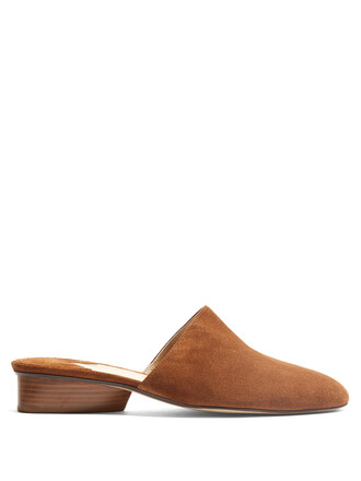 backless loafers suede tan shoes