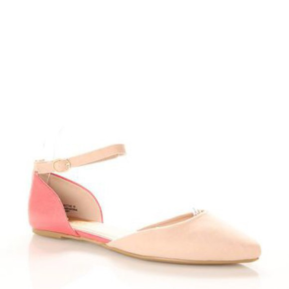 shoes flats peach peachypink pointy piontyflats