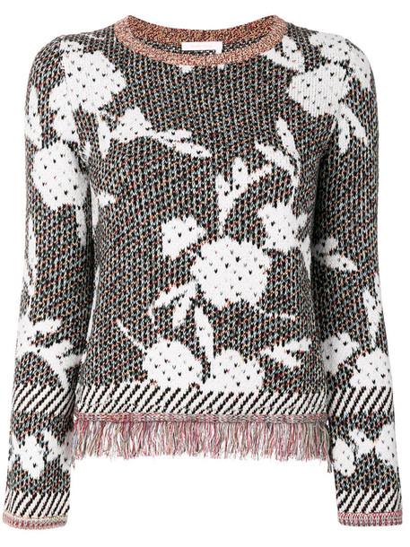 See by Chloe jumper women floral cotton black wool sweater