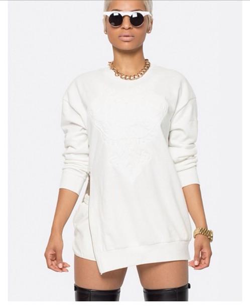 White Zipper Sweater Sweater Ribbed Neckline White