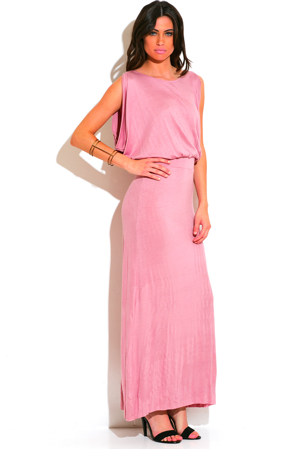 Dusty pink grecian draped backless drop waist evening maxi dress