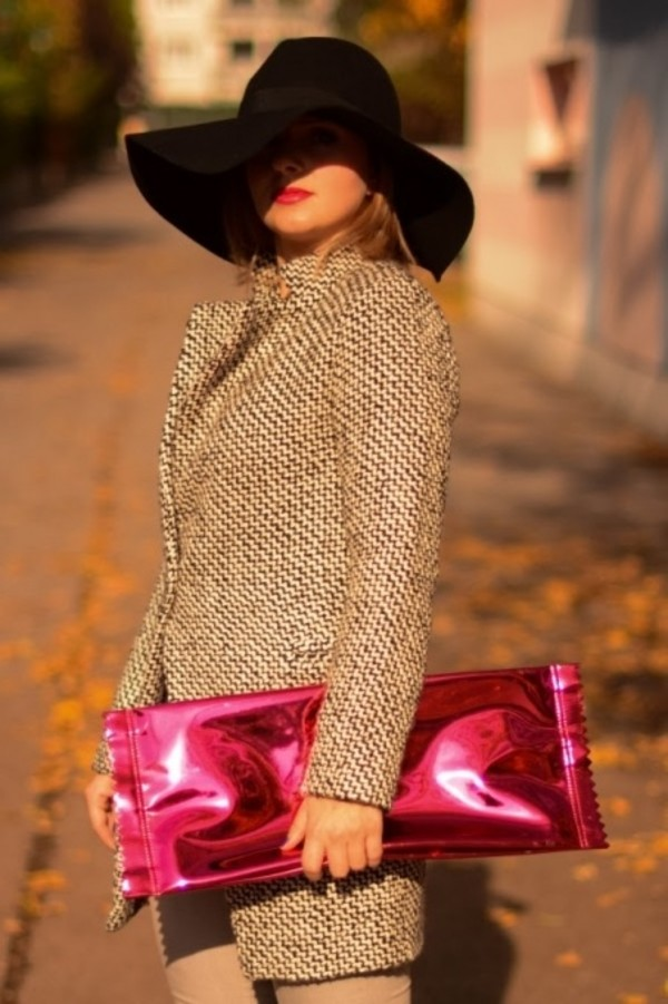 coat sheinside tweed clutch piercing metallic clutch mirror effect