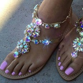 shoes,bling,gemstone,flowers,crystal,sandals,glitter,glitter shoes,pretty,rhinestones,jeweled sandals,flat sandals,shorts,gold,flats,summer,summer outfits,gold sequins