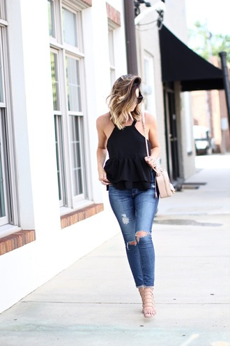 for all things lovely blogger top shoes bag jewels halter top halter neck peplum top peplum black top ripped jeans blue jeans nude bag shoulder bag black sunglasses sandals sandal heels high heel sandals nude sandals