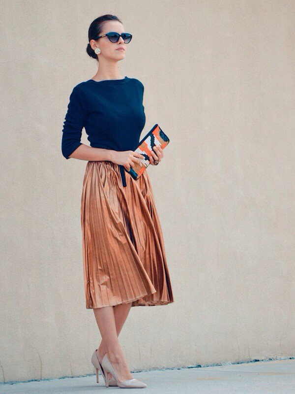 gold skirt pleated skirt elegant