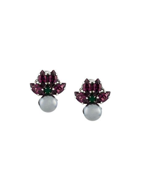 women embellished earrings stud earrings grey metallic jewels